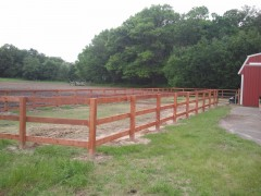 Brown Treated 3 Rail Ranch Fence