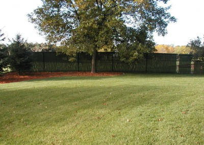Vinyl Coated Chain Link Fence w/ Hedge Slat