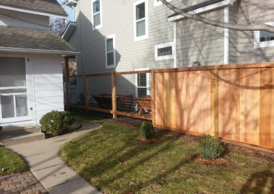 Cedar Privacy Framed Solid Board Fence w/ Framed Wire Mesh Combo