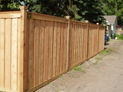 Cedar Privacy Framed Board on Board Fence w/ Section & Post Caps