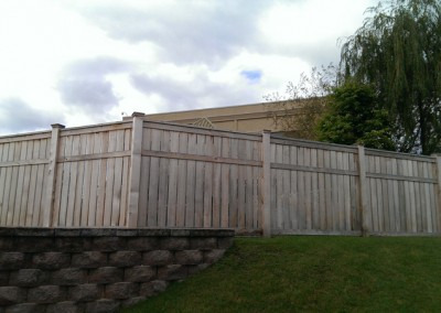 Cedar Privacy Framed Solid Board Fence w/ Section Cap Narrow Spacing