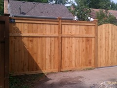 Cedar Privacy Framed Solid Board Fence w/ Section Cap, Post Caps, & Arched Walk Gate