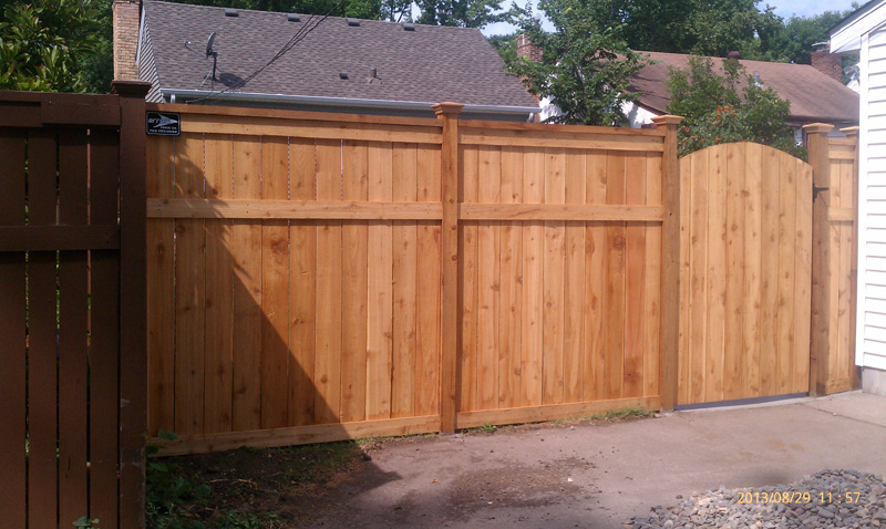 cedar privacy framed solid board fence w section cap post caps u0026 arched