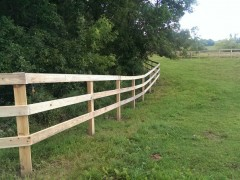Green Treated 3 Rail Ranch Fence