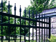 Ornamental Open Picket Fence w/ 3 Rails & Quad Finials