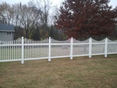 Vinyl Open Picket Fence w/ Scallop