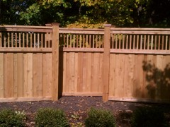 Cedar Privacy Spindle Top Fence w/ Copper Caps