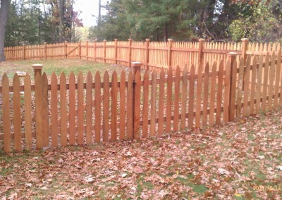 Traditional Cedar Gothic Picket Fence Outside View