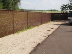 Brown Vinyl Coated Chain Link Fence w/ Sla