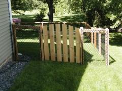 California Style Chain Link Fence w/ Arched Cedar Gate