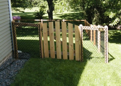 California Style Chain Link Fence w/ Arched Cedar Gate