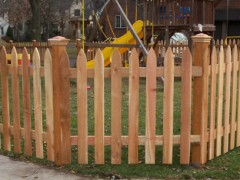 Gothic Picket Cedar Fence w/ Copper Top Caps