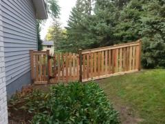 Cedar Closed Picket Fence w/ Rack & Arched Gate