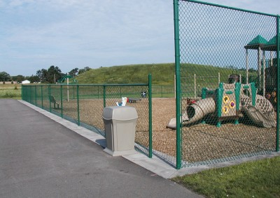 Green Vinyl Coated Chain Link Fence around Playground