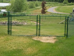 Green Vinyl Coated Chain Link Fence w/ Double Door Gate