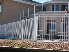 White 3 Rail Closed Picket Aluminum Ornamental Fence